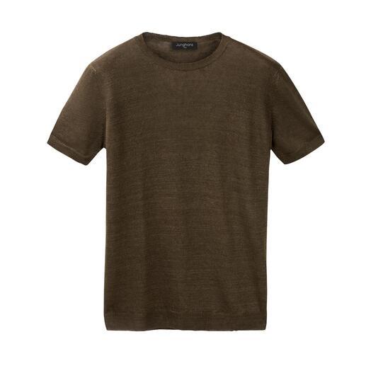 Junghans 1954 t-shirt van linnen en zijde Zo luchtig en luxueus zijn zomerse T-shirts maar zelden. Koel en droog dankzij linnen, zacht dankzij zijde.