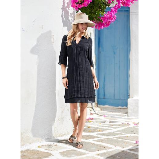 European Culture jurk Luchtig licht batist. Losjesvallend tuniekmodel. Modieuze laagjeslook.