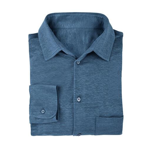 Sunset-overhemd Gebreid in plaats van geweven: zo comfortabel (en kreukarm) kan een overhemd van luchtig linnen zijn.