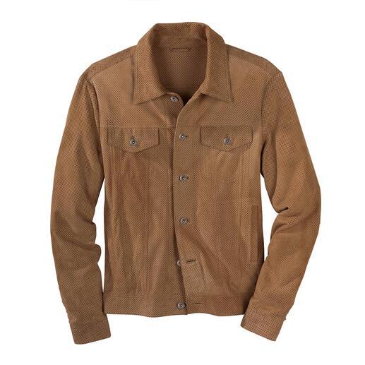 Leren jack in jeansstijl met perforaties De comeback van een modeklassieker: zo chic (en luchtig) was een 'jeansjack' nog nooit.