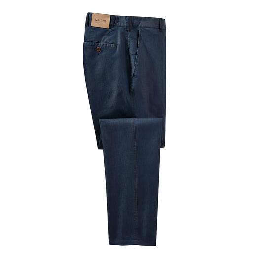 Jeans met zijde Chic afgewerkt met zijde: zomerse luxejeans. Gladder, zachter, luchtiger en verzorgder.