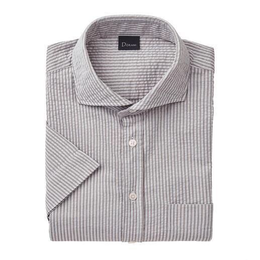 Seersucker overhemd met korte mouwen Luchtige seersucker-stof. Klassieke strepen. En toch niet te sportief.
