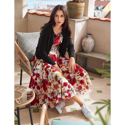 Samantha Sung jurk met klaprozen Lichte katoenen mousseline met altijd modieus klaprozendessin.
