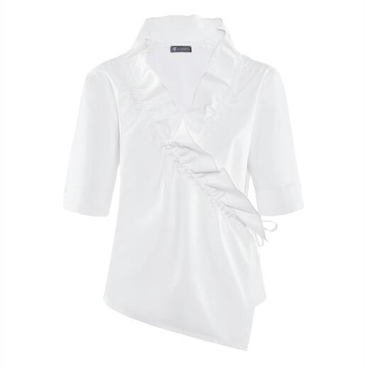Armagentum® wikkelblouse met ruches Allesbehalve saai: klassieke, witte basic blouse in een nieuwe modieuze look.