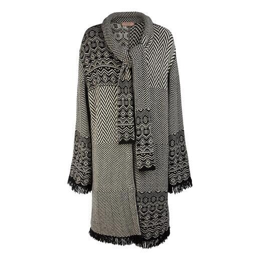 TWINSET jacquard gebreide jas met patchpatroon Vandaag een modehighlight, morgen een tijdloze klassieker: jacquard gebreide jas met subtiel patchpatroon.
