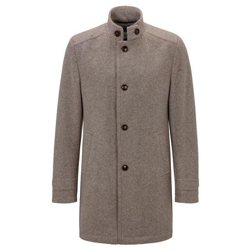 Carl Gross jas van walkloden-jersey Zacht en warm als een klassieke loden jas, maar veel lichter, comfortabeler en kreukarmer.