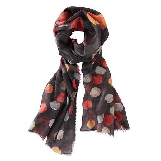 Ancini gestippelde sjaal Aquarel, zwart/multicolour Zes artistieke aquareltinten. Royaal formaat. Ongevoelig voor vlekken.