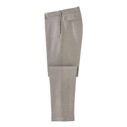 Hopsack broek van wol De ideale broek om het hele jaar door te dragen: warm dankzij scheerwol, luchtig door de Hopsack-structuur.