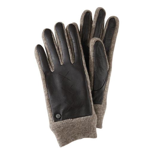 Smart-casual handschoenen Elastische gebreide inzetstukken maken deze handschoenen van fijn geitenleer zo heerlijk soepel.