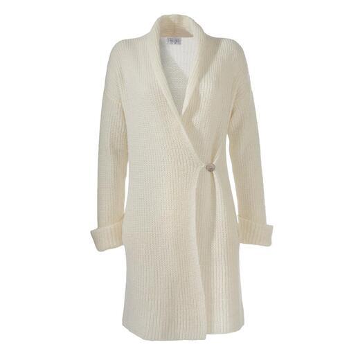 Junghans 1954 lange cardigan Diepe zakken, sjaalkraag, omgeslagen mouwboorden en knoopsluiting. Made in Italy.
