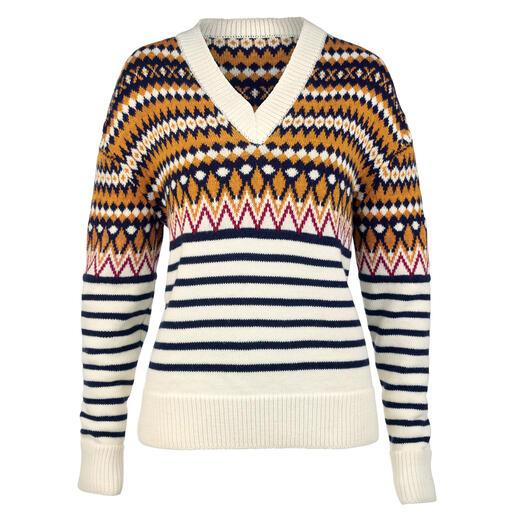 Saint James trui in jacquardbreisel Modern model, zacht materiaal en fris, exclusief design. Voor dames en heren.