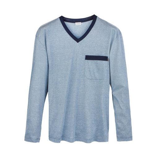 Zimmerli chique pyjama Pima-katoen uit de Verenigde Staten, zijde uit China, linnen uit België en gemaakt in Zwitserland.