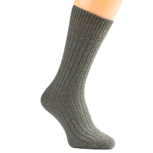 Corgi-kasjmiersokken Zeldzame luxe: heerlijk zachte, dikke sokken van 100% tweedraads kasjmier. Een zachte weldaad na een zware dag