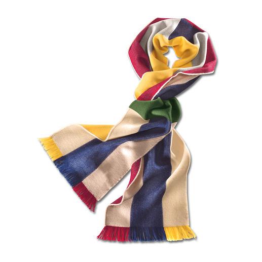 Johnstons regenboog-sjaal Een bonte sjaal – ontelbare combinaties. Van extra dunne Merino – zacht. Licht. Warmend.