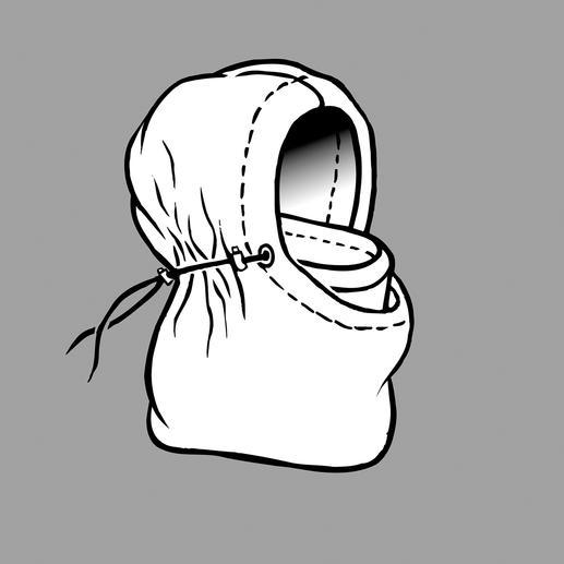 Geraffineerd naar binnen gevouwen en aan de buitenzijde vastgebonden, beschermt de Balaclava het hoofd, de hals en het gezicht en is zacht, warm en waterafstotend.