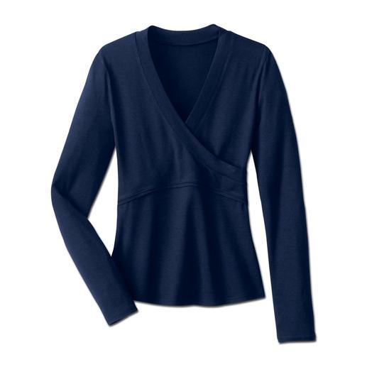 'Overslag'-blouse, lange mouw Eindelijk een overslagblouse die perfect zit. Het geheim: een optisch overslageffect–zonder hinderlijke banden