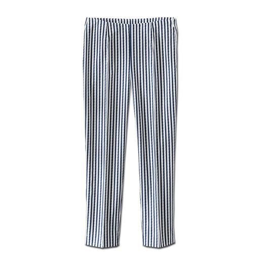 Seersucker-broek 'Blue Stripes' De perfecte zomerbroek: luchtig en licht seersucker-weefsel dat elegant genoeg is voor naar kantoor.