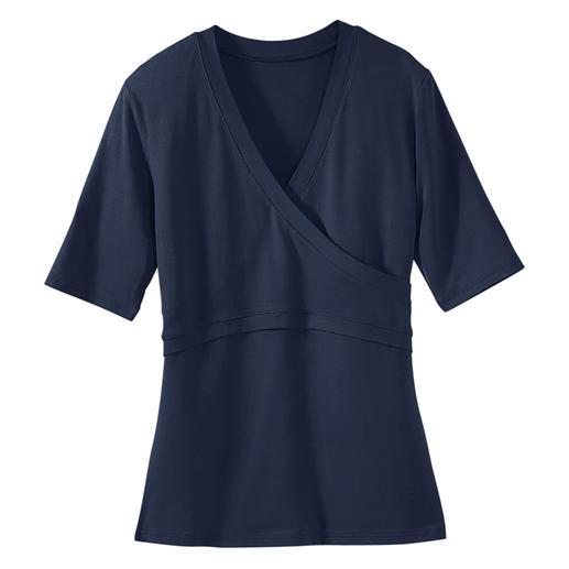 'Overslag'-blouse, korte mouwen Eindelijk een overslagblouse die perfect zit. Het geheim: een optisch overslageffect–zonder hinderlijke banden.