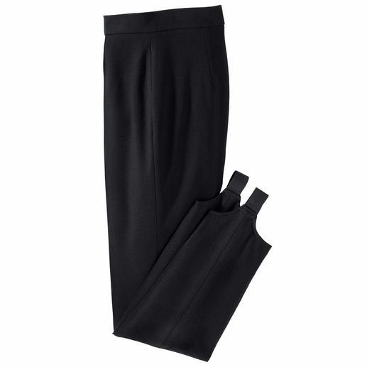 De perfecte laarsbroek Glijdt nooit uit de laars: de broek met bandjes van fijne jersey. Zit steeds perfect en zonder vouwen.