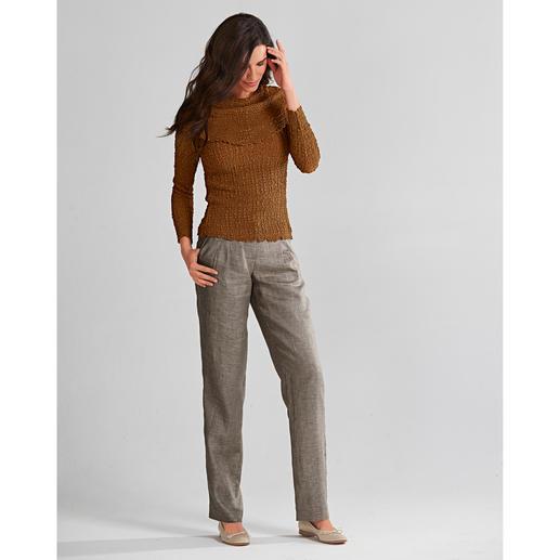 Linnen broek voor kantoor Dit zware linnen kreukt minder. Linnen broek voor kantoor: casual, luchtig, flatteus.