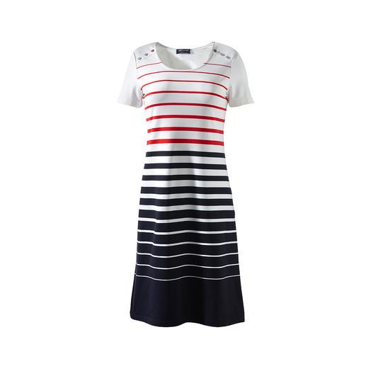 Saint James Bretonse jurk van microfiber Bretonse jurk 2.0 van Saint James: eleganter, onderhoudsarmer en steviger. Van fijn Meryl®-microfiberweefsel.
